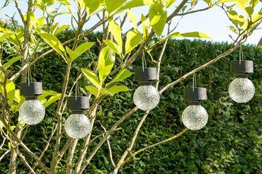 4er-Set LED Solaranhänger Kristallglas, Gartenkugel, Solarlampe, Echtglas – Bild 1