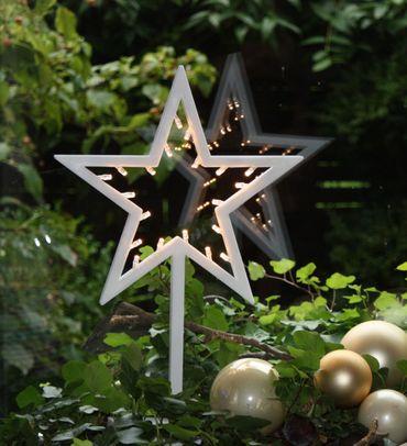 LED Deko Stern mit 20 LED´s Weihnachtsdeko Fensterdeko 38 cm batteriebetrieben – Bild 1