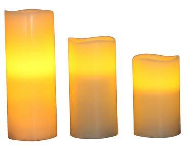 3er Set LED Kerze Echtwachs weiß mit Luftsensor 3 verschiedene Größen inkl. Batterien