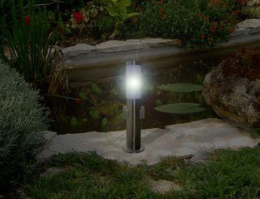 Edelstahl Standleuchte mit 2 x Steckdose Standlampe LED Energiesparlampe 7Watt – Bild 2