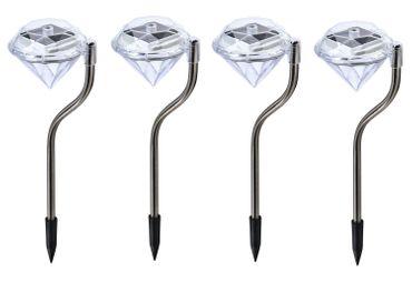 4er Set LED Solarlampe Kristall, Solarleuchte mit Erdspieß, Deko, Gartendeko – Bild 1