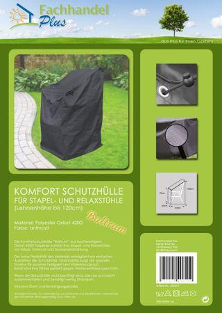 Komfort Schutzhülle für Stapelstühle, Stuhl Schutzhaube, anthrazit, 63x79x120 cm – Bild 2
