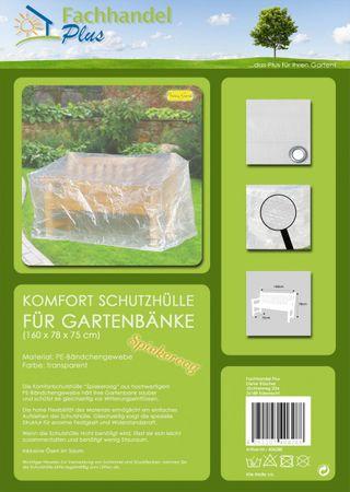 Komfort Schutzhülle für Gartenbank Bank 160 x 75 x 78 cm transparent – Bild 2