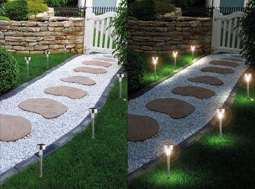 6er Set LED Solarleuchte, Edelstahl, Solarlampe mit Erdspieß und On-/Offschalter – Bild 1