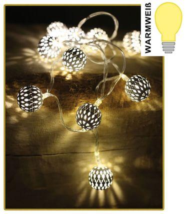 LED Lichterkette mit 10 weißen Kugeln warmweiß Weihnachtsdeko batteriebetrieben  – Bild 4