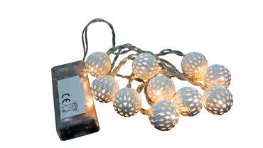 LED Lichterkette mit 10 weißen Kugeln warmweiß Weihnachtsdeko batteriebetrieben  – Bild 2