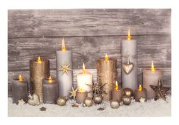 Leinwandbild XL mit LED-Beleuchtung 60 x 40 cm Wandbild mit 11 Kerzen Leuchtbild LED-Bild Weihnachten
