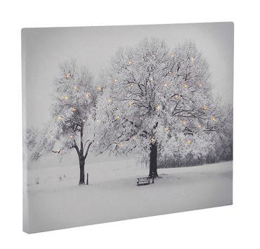 Leinwandbild mit LED-Beleuchtung Wandbild Bäume 40 Lichter Leuchtbild LED Bild  – Bild 2