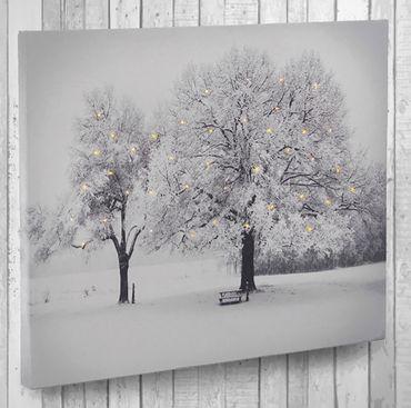Leinwandbild mit LED-Beleuchtung Wandbild Bäume 40 Lichter Leuchtbild LED Bild  – Bild 1