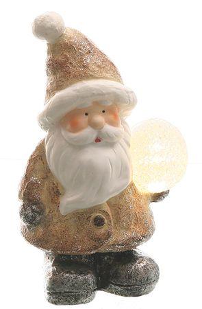 Weihnachtsmann Deko-Figur mit LED-Kugel LED-Beleuchtung Batterie 22 cm Keramik