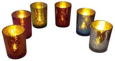 6er Set Teelichthalter Mercury Glas inkl. LED-Teelichter Kerzenhalter Vintage  – Bild 1