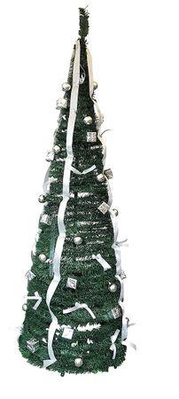 Künstlicher Weihnachtsbaum silber 190 cm pop Up Tannenbaum mit Schmuck 60 cm  – Bild 2