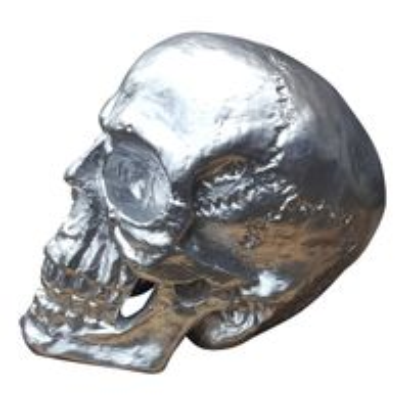 Totenkopf groß Skulptur XXL Skull Totenschädel Gothic Mystik silber Deko Schädel – Bild 1