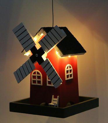 Vogelfutterhaus Windmühle mit Micro-LED-Lichterkette und Timer, versch. Farben – Bild 5
