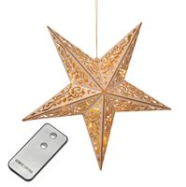 Deko Holzstern LED-Beleuchtung und Fernbedienung, Fensterdeko, Weihnachtsdeko
