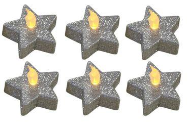6er Set Teelichter Stern Glitzer silber, Weihnachtsdekoration, inkl. Batterien – Bild 1