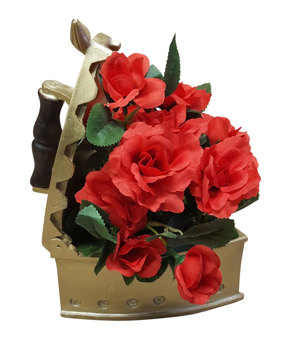 Deko Rosengesteck Im Bugeleisen Tischdeko Kunstblumen Blumengesteck
