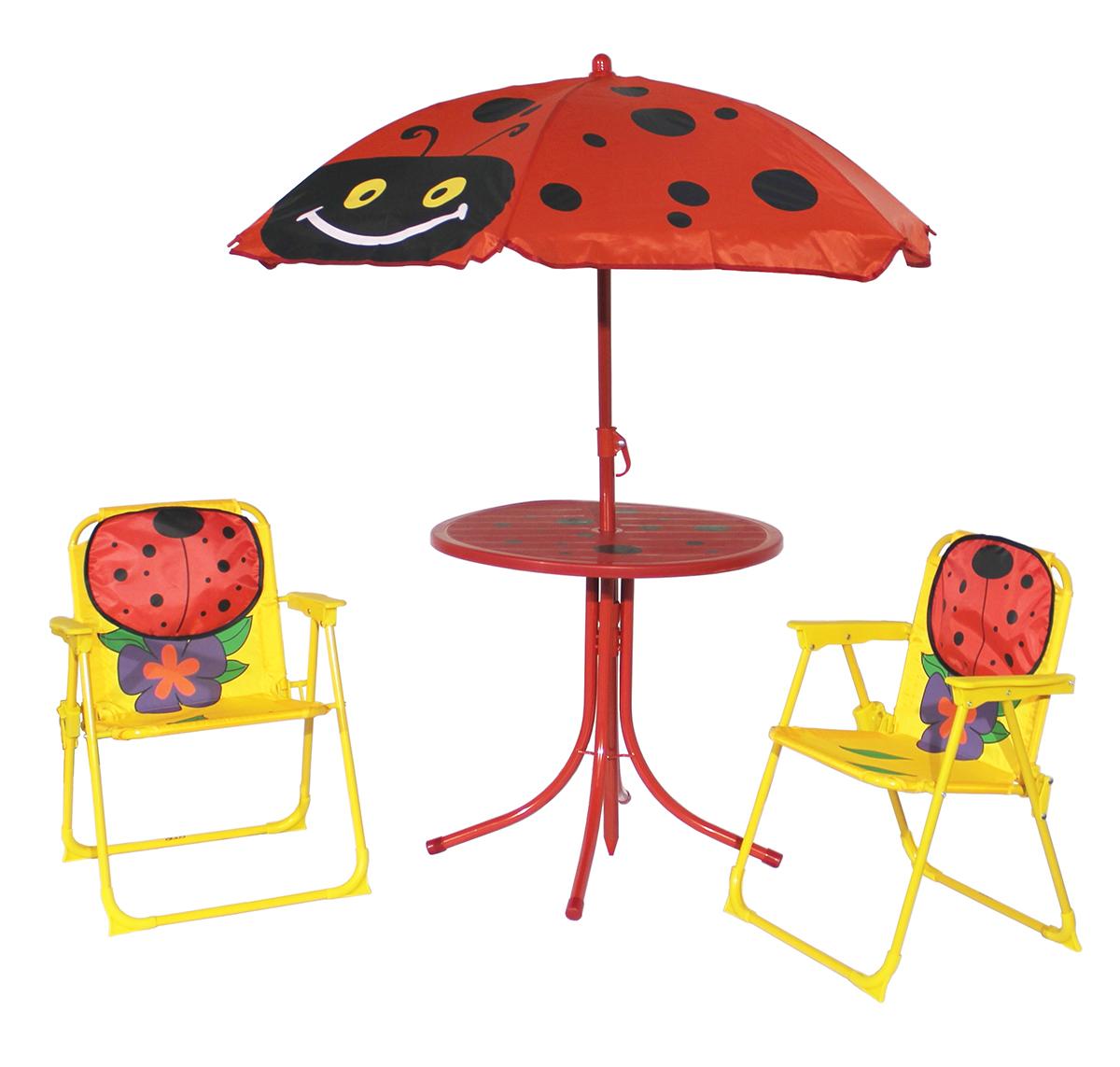 Kinder gartenm bel set 4 teilig klappst hle tisch sonnenschirm marienk fer garten terrasse - Kinder gartenmobel set ...