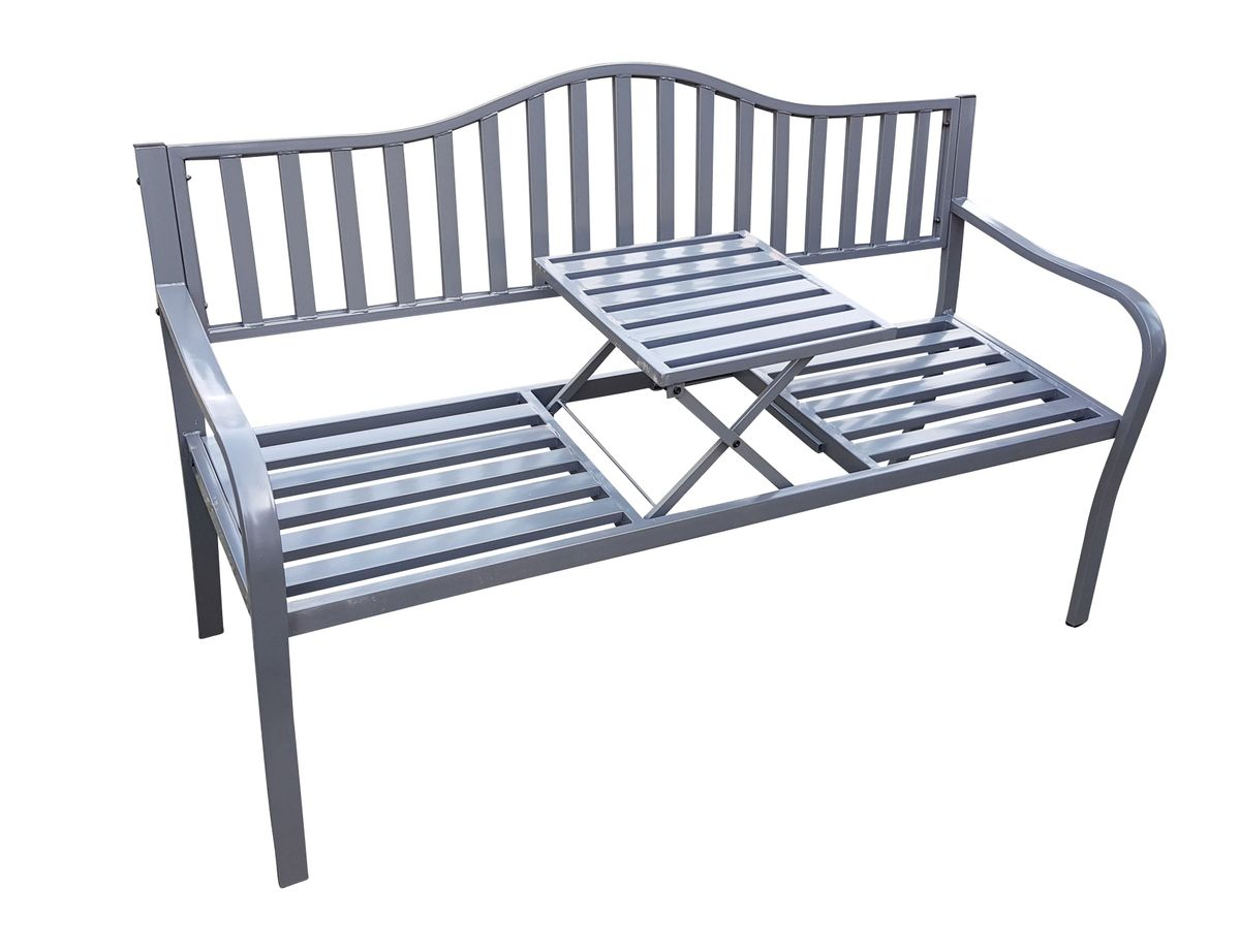 gartenbank mit klapp tisch 2in1 metall 150x60x90 cm. Black Bedroom Furniture Sets. Home Design Ideas