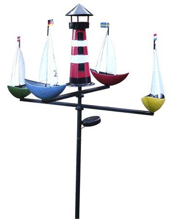 XL LED Solar Windspiel Schiffsregatta Gartenstecker Karussell Gartendeko – Bild 1