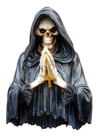 Wanddeko Skelett betend mit RGB und Kreuzkette Dekofigur Deko Bild Wandbild 3D  – Bild 1