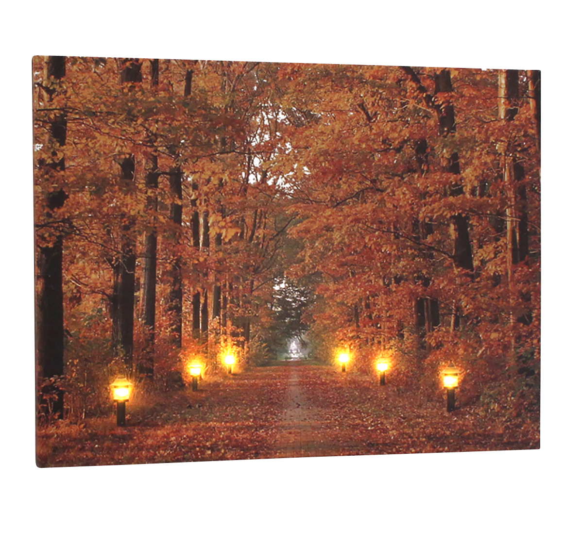 leinwandbild mit led beleuchtung wandbild herbst mit 6 laternen leuchtbild led bild m bel. Black Bedroom Furniture Sets. Home Design Ideas