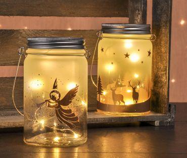 2er Set Windlichter mit LED-Lichterkette Weihnachtsdeko Engel Rentier Deko Glas  – Bild 2