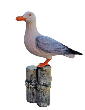 Deko-Figur Möwe auf Polder maritime Gardendeko Holzschnitt-Optik Tierfigur
