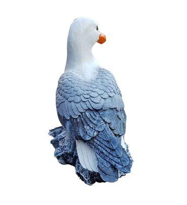 Deko-Figur Möwe auf Stein maritime Gardendeko Holzschnitt-Optik Tierfigur  – Bild 3