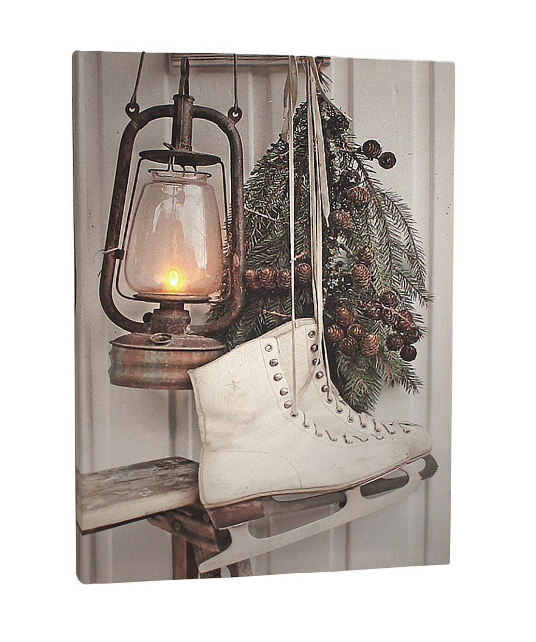 leinwandbild mit led beleuchtung 30 x 40 cm wandbild vintage mit schlittschuh leuchtbild led. Black Bedroom Furniture Sets. Home Design Ideas