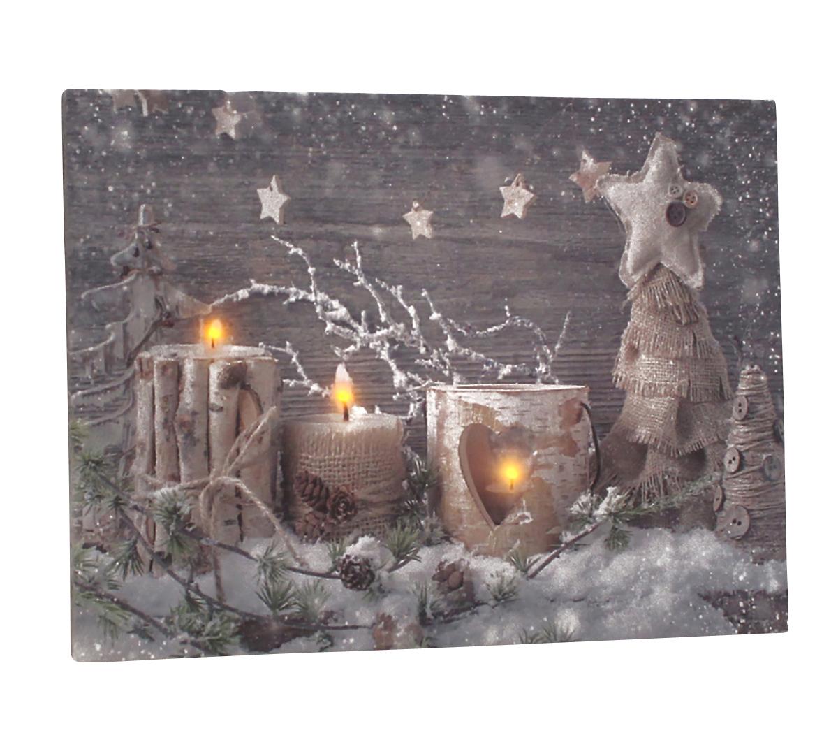 Leinwandbild Mit Led Beleuchtung 30 X 40 Cm Wandbild Mit Kerzen Und