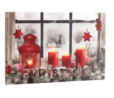 Leinwandbild mit LED-Beleuchtung 60 x 40 cm Wandbild Christmas Weihnachten mit 4 roten Kerzen Leuchtbild LED Bild