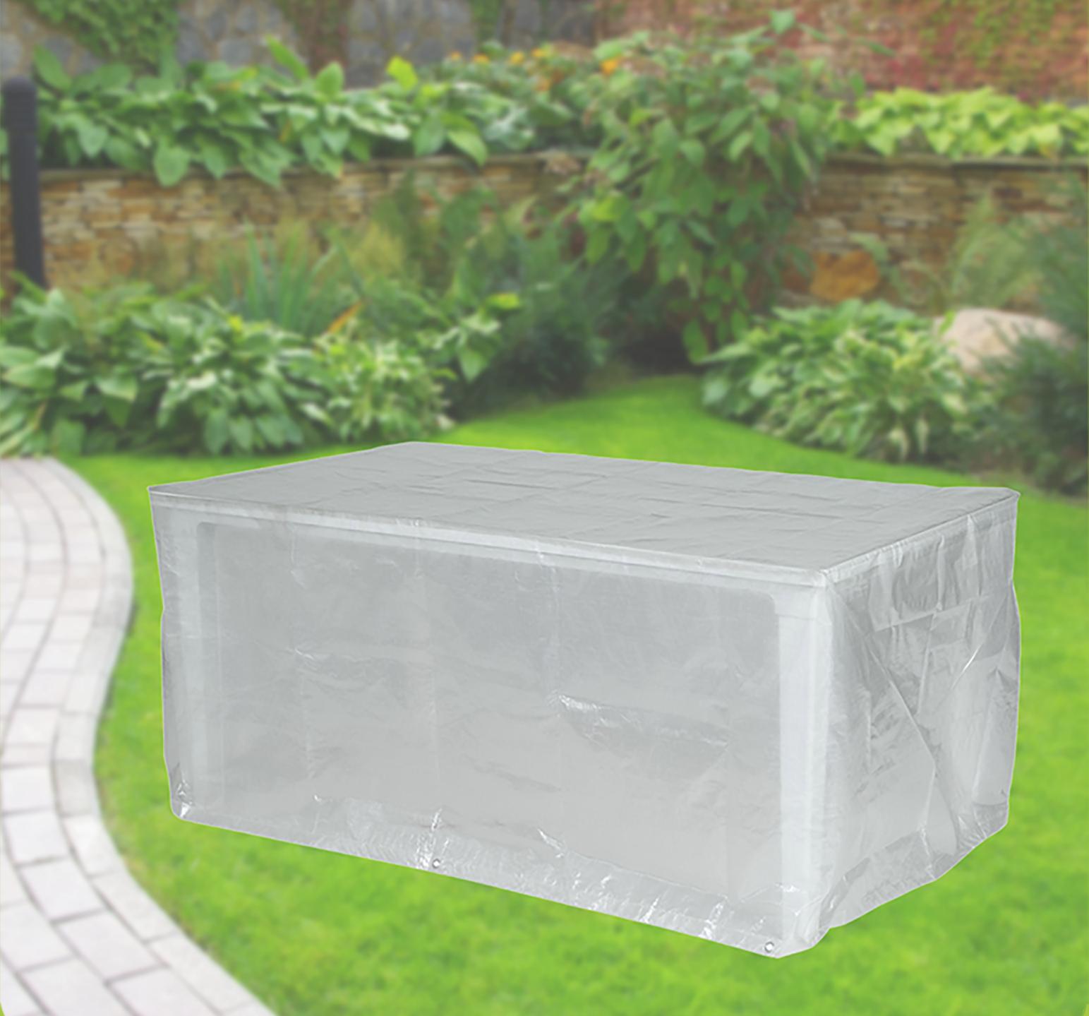 Komfort Schutzhülle für rechteckige Gartentische 180x100x75 cm transparent 001