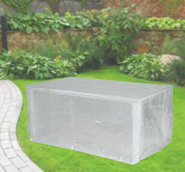 Komfort Schutzhülle für rechteckige Gartentische 220x100x75 cm transparent – Bild 1
