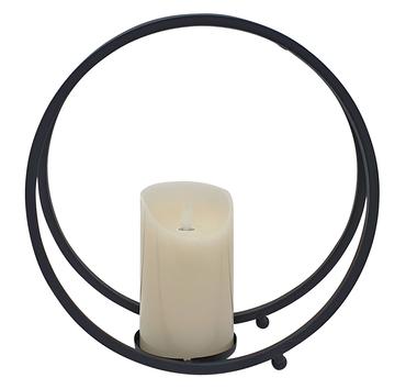Laterne Metall schwarz rund mit LED-Kerze Flackereffekt Ø 26 cm Kerzenhalter  – Bild 1