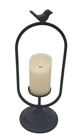 Laterne Metall schwarz oval mit Vogel und LED-Kerze Flackereffekt H 40 cm Deko – Bild 1