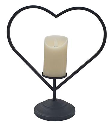 Laterne Metall schwarz Herz mit LED-Kerze Flackereffekt 34 cm hoch Kerzenhalter  – Bild 1