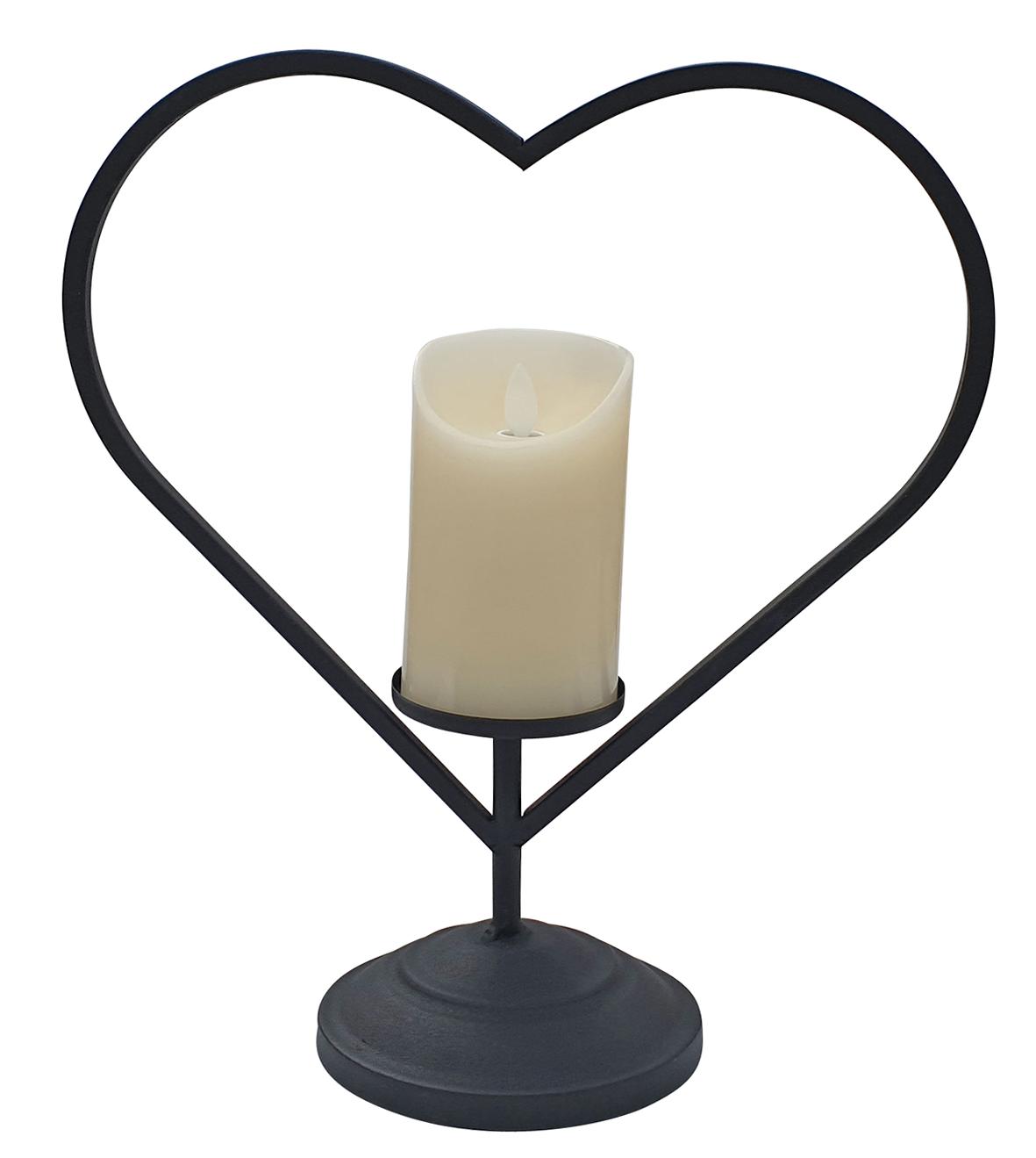 Laterne Metall schwarz Herz mit LED-Kerze Flackereffekt 34 cm hoch Kerzenhalter  001