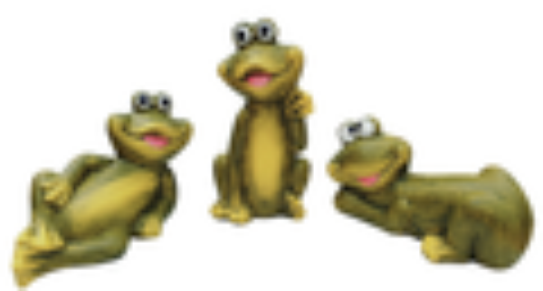 Dekofiguren Frösche 3 Stück lustige Gartendeko Teichdeko Keramik Tierfiguren 001