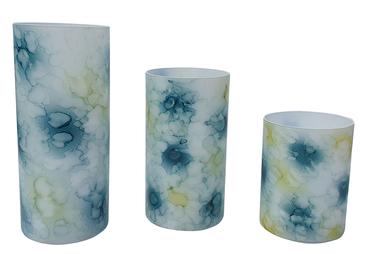 Windlichter 3 Stück marmorierte Optik mit Micro-LED-Lichterkette Timerfunktion – Bild 2