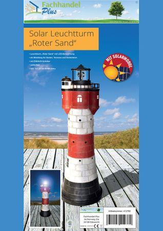 Leuchtturm Roter Sand m. Solar Beleuchtung Rundum Leuchtfeuer 50cm Maritime Deko – Bild 2