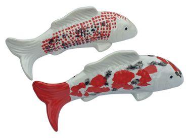Koi-Karpfen 2 Stück schwimmend Porzellan glasiert Teichdeko Fisch-Figur  – Bild 1