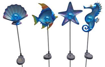 4 Stück Solar Gartenstecker Dekofiguren maritime Gartendeko LED Beleuchtung  – Bild 1