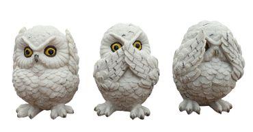 3 weiße Schnee-Eulen nichts sehen, nichts hören, nichts sagen, Dekofiguren Vogel – Bild 1