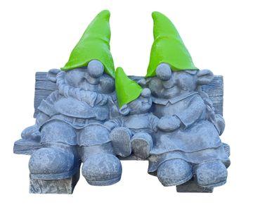 Wichtel auf Gartenbank Dekofigur Wichtelfamilie lustige Gartendeko Wichtelparade – Bild 4