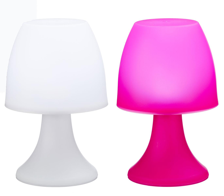 LED Lampen Stimmungslichter Indoor Outdoor 2 Stück weiß und pink Batteriebetrieb 001