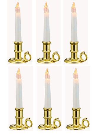 LED Kerzen mit Kerzenhalter in gold 6 Stück flammenlos batteriebetrieben Deko