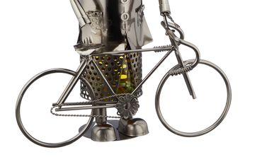 Flaschenhalter Weinflaschenhalter Metall Fahrradfahrer Figur Skulptur Deko – Bild 3