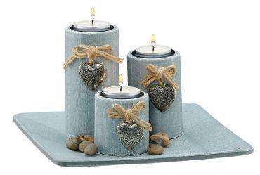 Teelichthalter 3 Stück auf Tablett Dekoration Kerzenhalter Herz-Deko-Anhänger – Bild 1