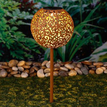 Solar LED Dekokugel Schattenlampe Rostoptik Vintage Solarlampe Gartenstecker – Bild 2